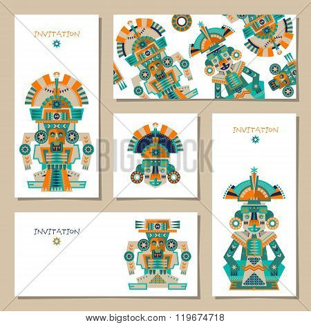 Set Of 5 Universal Cards With Aztec And Maya Ceremonial Sculptures. Template. Party, Birthday, Holid