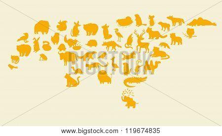 Eurasian animals silhouettes set. Vector illustration.