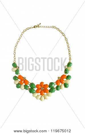 Flower Necklace Isolated On White