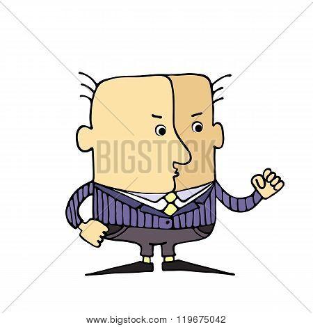 Caricature Head Gesture ,the Fist.