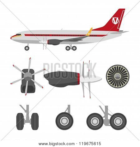 Jets Constructor. Flat Icons Aircraft Parts. Collection Of Symbols For The Repair Of Aircraft