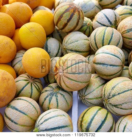 Cantaloupe and yellow melons at the marketplace stacked