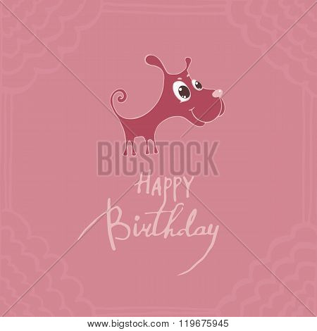 Cute Puppy With Big Eyes, Congratulations Happy Birthday