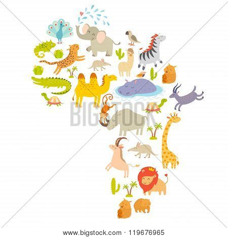 African mammal map silhouettes. Isolated on white background vector illustration