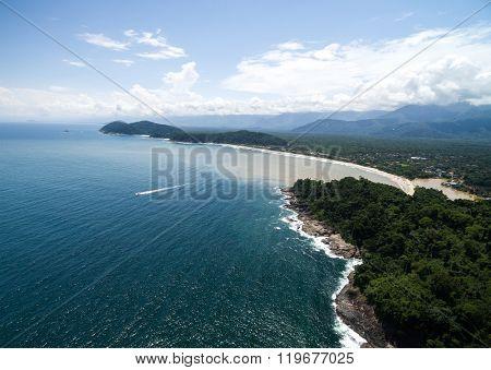 Aerial View of Sao Sebastiao Coast, Brazil