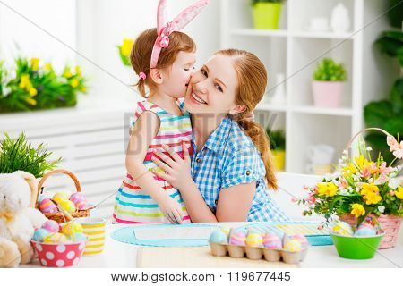 Happy Family Celebrating Easter. Mother And Daughter Kissing At Home
