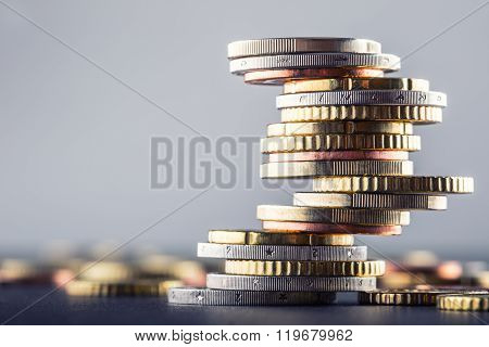 Euro coins. Euro money. Euro currency.Coins stacked on each other in different positions.