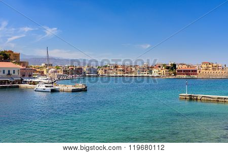 View of the Cretan sea and Greek port of Chania on the island of Crete.