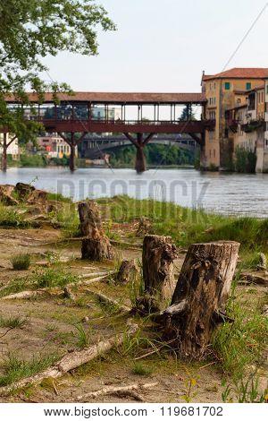 Panorama from Bassano del Grappa old wooden bridge over Brenta river italian landscape