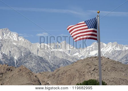 American Flag with Mt Whitney
