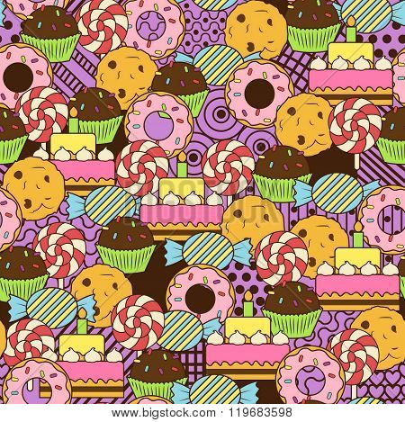 Seamless cute delicious sweets doodle pattern. It includes yummy deserts with icing and cream, donut