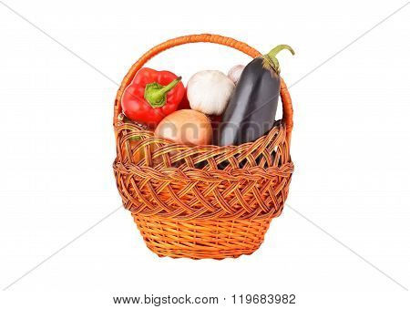 Vegetables In A Wattled Basket