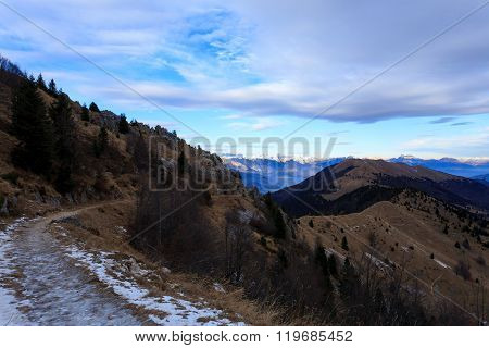 Winter panorama from top of Monte Grappa Italy