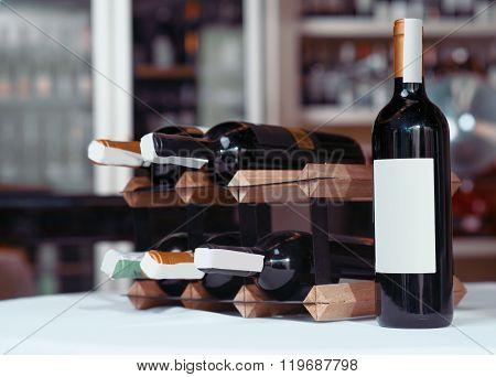 Wine bottle standing on the table