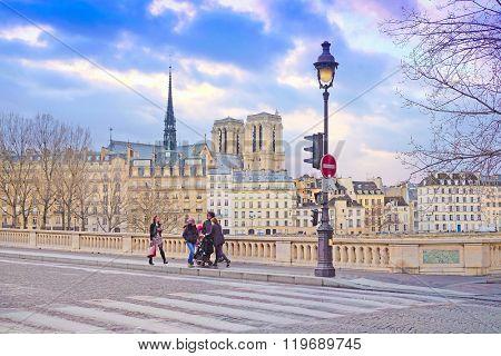 Paris, France, February 8, 2016: Notre Dame de Paris, one of the Paris simbols