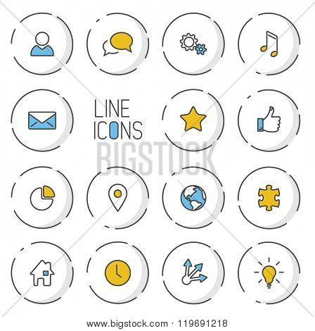 Vector Modern circle thin line icon collection - dual color (blue and yellow), light shadow