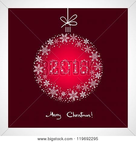 Merry Christmas and Happy New Year 2016. stylized red ball with snowflakes. Season greeting card tem