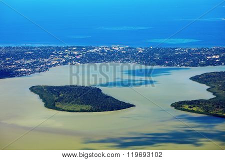 Aerial Nuku'Alofa and Tongatapu Island. Nuku'Alofa Kingdom of Tonga.