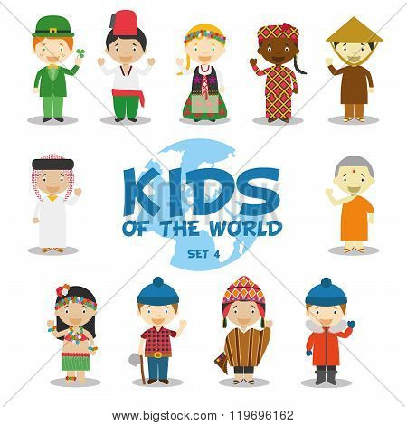 Kids of the world vector illustration: Nationalities Set 4. Set of 11 characters dressed in different national costumes (Ireland, Turkey, Poland, Mali, Vietnam, Saudi Arabia, Nepal, Hawaii, Canada, Peru and South Pole).