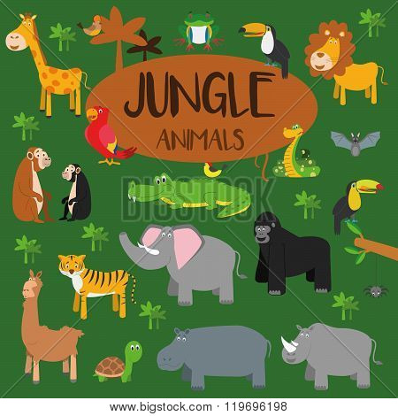 Vector set Jungle animals. Frog, turtle, toucan, parrot, bat, spider, tiger, giraffe, crocodile, snake, gorilla, rhino, cheetah, monkey, chimpanzee, zebra, elephant, lion, hippopotamus and tropical birds. Flat style character. Vector illustration.