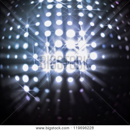 The spherical space with radiant light spots.