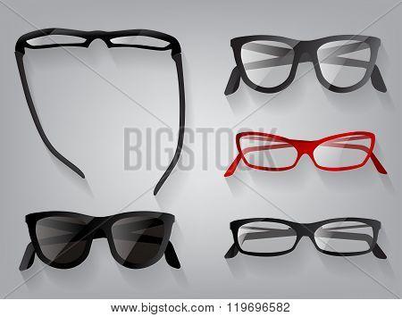 Glasses eye wear glasses, vector illustration.