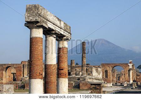 Pompei ruins and Vesuvius. Pompei Campania Italy.