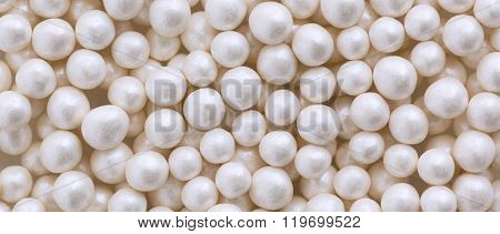 White Pearl Dragee Balls Background