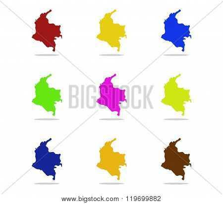 map colombia illustrated and colored on white background