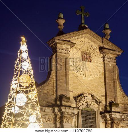 Church of Saints Peter and Paul on Veemarkt in Mechelen. Mechelen Flemish Region Belgium.