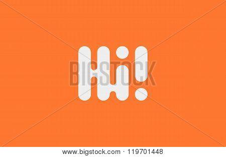 Hi logo design. Minimalistic logo. Creative logo. Round line logo.