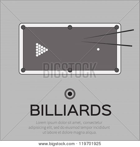 Billiards pool snooker game. Balls triangle cue on table - Vector illustration.