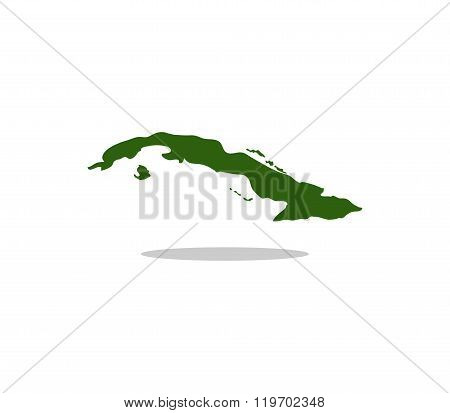 cuba map illustrated and colored on white background