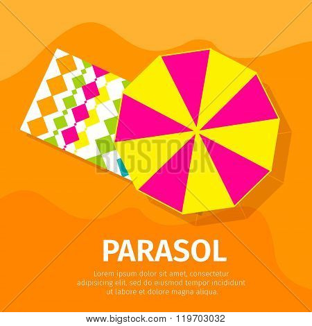 Sun umbrella - seasons parasol with beach towel. Vector Illustration.