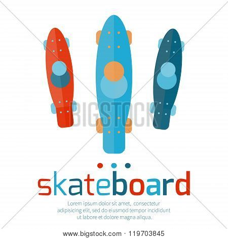 Skateboards top view on a white background.