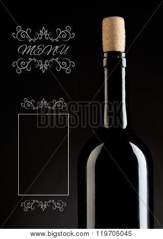 Close Up Low Key Studio Shot Of  Wine Bottle On A Dark Background