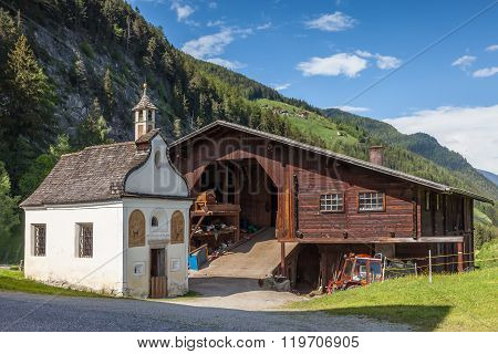 Small Chapel On Farm In Valle Aurina