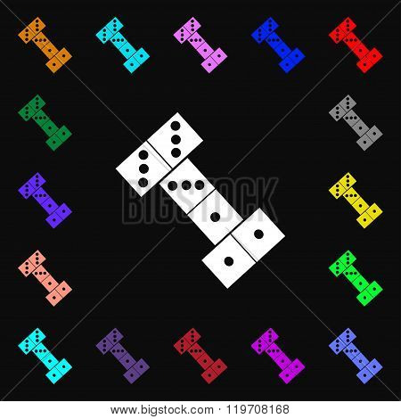 Domino Icon Sign. Lots Of Colorful Symbols For Your Design.
