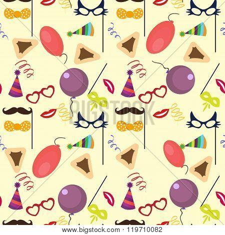 Seamless holiday Purim pattern .