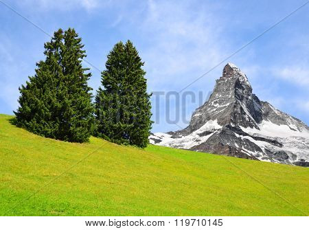 Views of the mountain Matterhorn in Pennine Alps, Switzerland