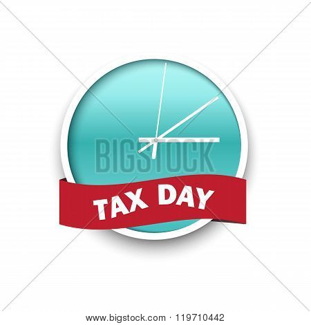 USA Tax Day Icon - Clock Design Template