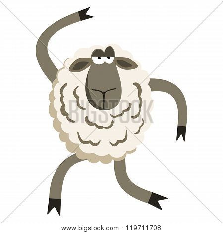 Stubborn Silly Dance Lamb. Sheep character. Vector illustration of stubborn dancer.