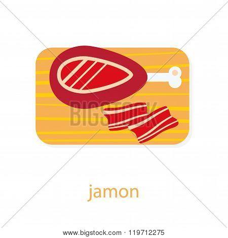 Jamon on cutting board