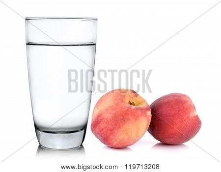 Glass Of Water And Peach With Isolated On White Background