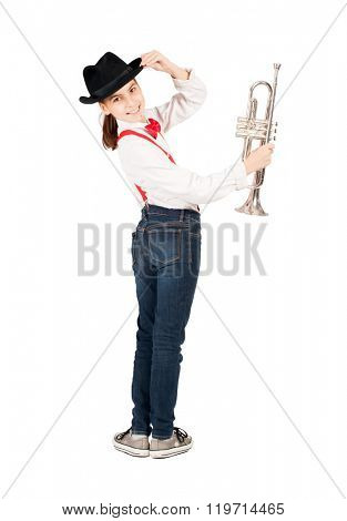 little girl with trumpet on a white background