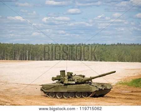 Tank T-80 At A Military Training Ground