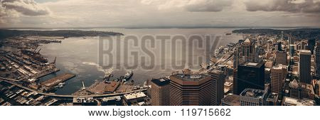 Seattle bay rooftop panorama view with urban architecture.
