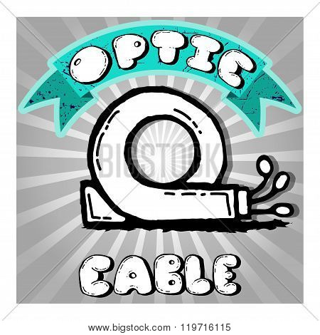 Icon of optic cable hand-drawn