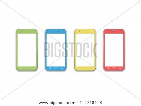 Phone 4 Colors Layout Template