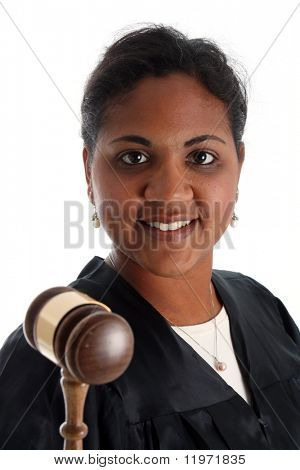 Minority woman judge on a white background